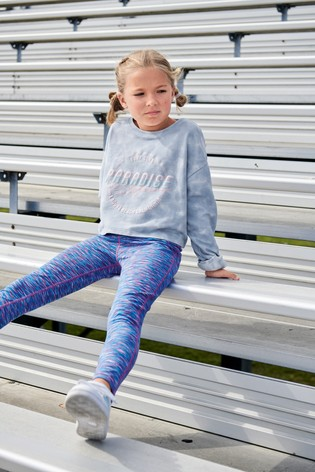 Blue Marl Sports Leggings (3-16yrs)