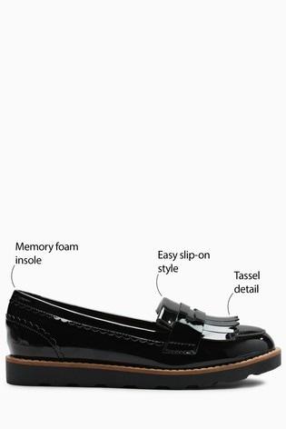 Black Chunky Fringe Loafers (Older)