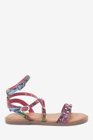 Snake Print Strappy Stud Sandals (Older)