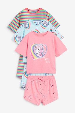 Multi 3 Pack Rainbow Unicorn Short Pyjamas (3-16yrs)