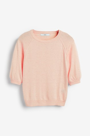 Peach Textured Bobble Jumper