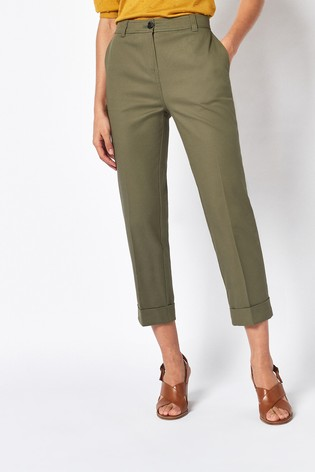 Khaki Cotton Twill Taper Trousers