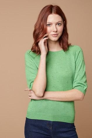 Green Textured Bobble Jumper