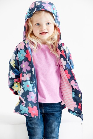Navy Floral Shower Resistant Cagoule (3mths-7yrs)