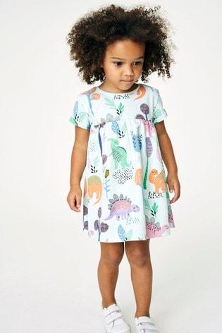Aqua Dino Jersey Dress (3mths-7yrs)