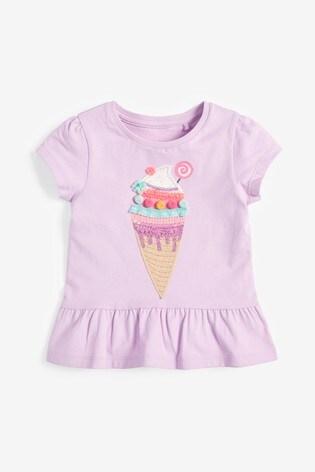 Lilac Ice Cream Appliqué T-Shirt (3mths-7yrs)