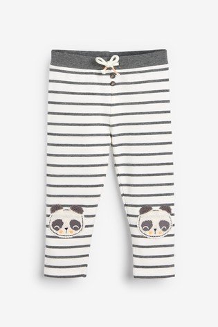 Monochrome Panda Knee Embroidered Leggings (3mths-7yrs)