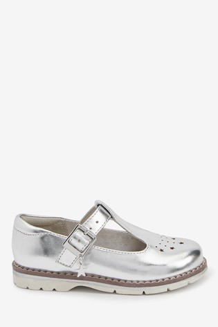 Silver Star Charm T-Bar Shoes (Younger)