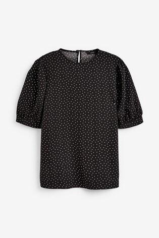 Black Spot Gathered Short Sleeve Top