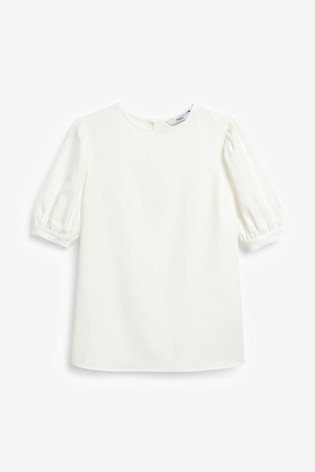 Ecru Gathered Short Sleeve Top
