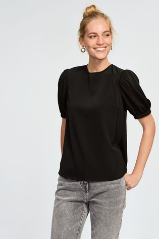 Black Gathered Short Sleeve Top