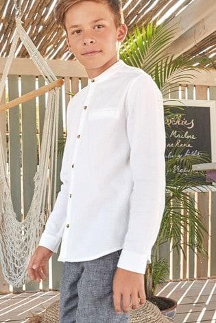 White Long Sleeve Textured Grandad Shirt (3-16yrs)