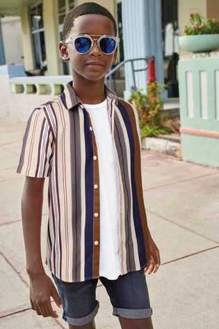 Neutral Vertical Stripe Short Sleeve Shirt (3-16yrs)