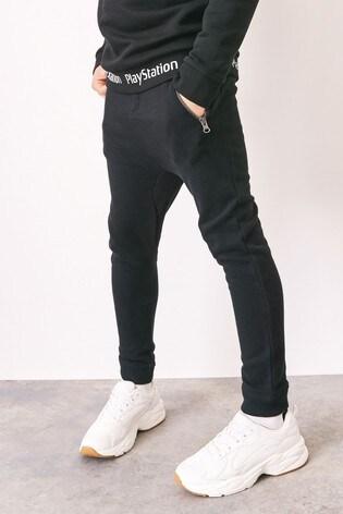 Black Tapered Leg Drop Crotch Zippy Cuffed Joggers (3-16yrs)