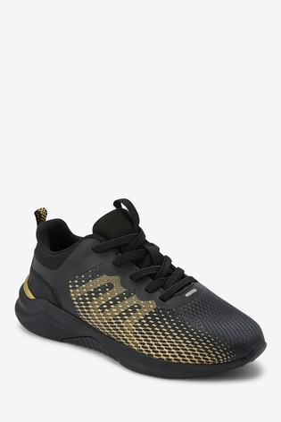 Black/Gold Elastic Lace Trainers (Older)
