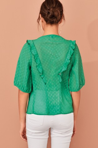 Green Smock Frill Blouse
