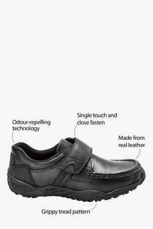 Black Standard Fit Leather Single Strap Shoes (Older)