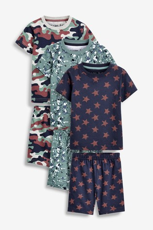 Multi 3 Pack Camo Splat Print Short Pyjamas (9mths-12yrs)