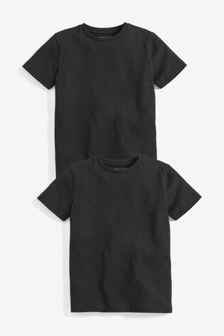 Black 2 Pack Short Sleeve T-Shirts (3-16yrs)