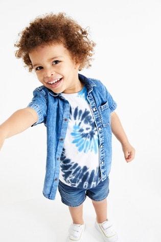 Blue Short Sleeve Denim Shirt (3mths-7yrs)