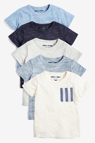 Blue 5 Pack Textured T-Shirts (3mths-7yrs)