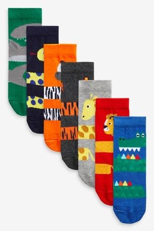 Bright 7 Pack Cotton Rich Animal Socks