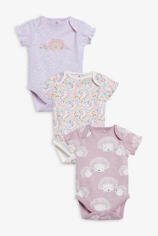 Lilac 3 Pack Hedgehog Bodysuits (0mths-3yrs)