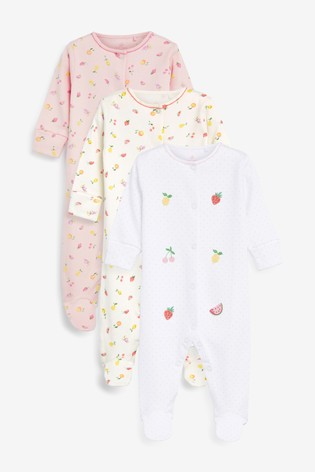 Pink 3 Pack Delicate Fruit Sleepsuits (0mths-2yrs)
