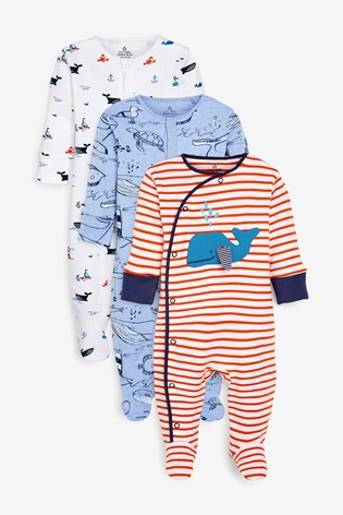 Blue 3 Pack Stripe Whale Sleepsuits (0mths-2yrs)