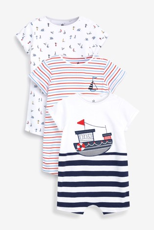 Navy 3 Pack Nautical Boat Rompers (0mths-3yrs)