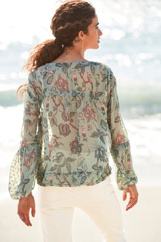 Metallic Blue Paisley Tie Neck Blouse