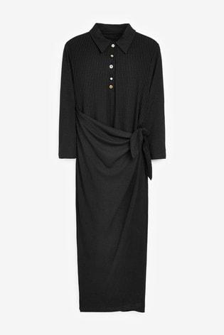 Next/Mix Jersey Rib Polo Dress