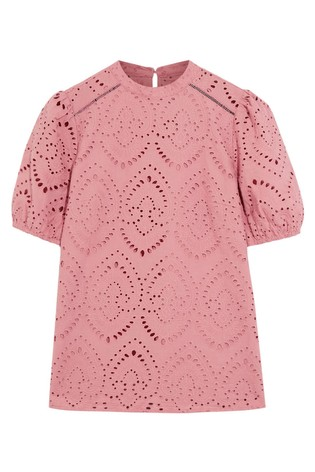 Oasis Pink Broderie Pintuck Balloon Sleeve Top