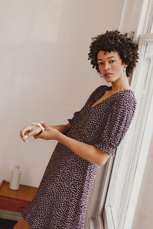 Oasis Black Polly Print Chiffon Tea Dress