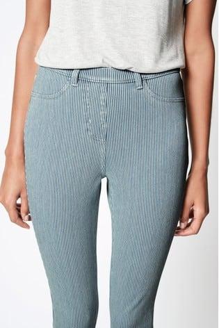 Light Blue Stripe Jersey Cropped Leggings