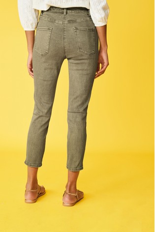 Khaki Skinny Cropped Jeans