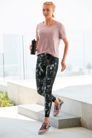 Black Leaf Print Technical Leggings