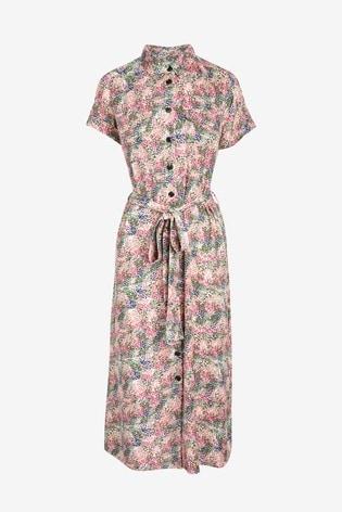 Ecru Floral Midi Shirt Dress
