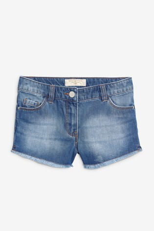 Mid Blue Frayed Hem Denim Shorts (3-16yrs)