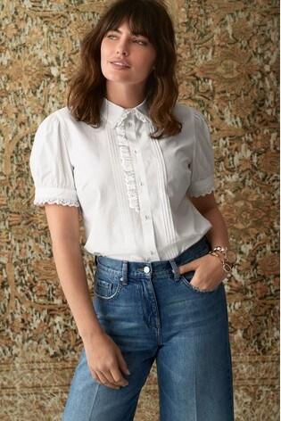 White Short Sleeve Embroidered Shirt