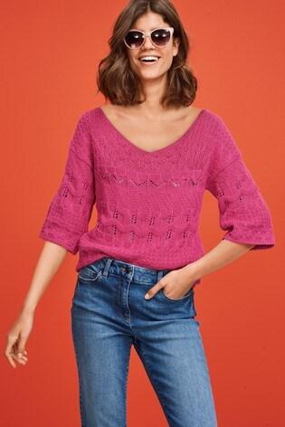 Pink Stitch V-Neck Top