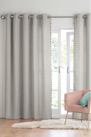 Tassel Edge Eyelet Lined Curtains