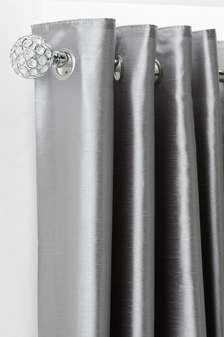 Brushed Silver Extendable Beaded Ball Curtain Pole Kit