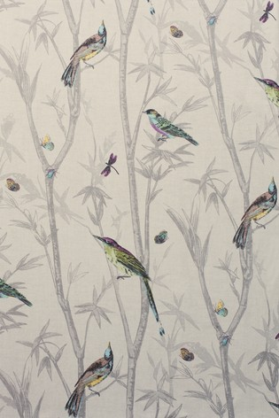 Chinoiserie Bird Trail Country Luxe Pencil Pleat Lined Curtains