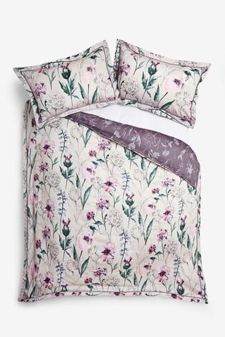 Cotton Sateen Reversible Plum Floral Duvet Cover And Pillowcase Set