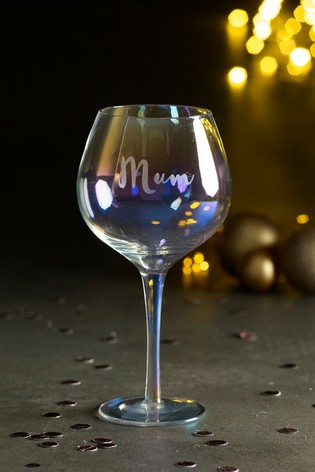Personalised Iridescent Gin Glass by Loveabode