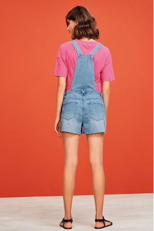 Bleach Raw Hem Dungaree Shorts
