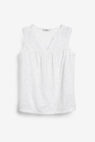 White Broderie Sleeveless Top