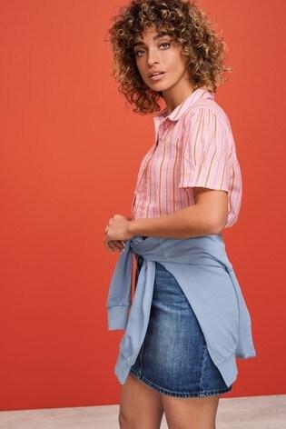 Pink Stripe Short Sleeve Collar Shirt