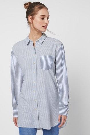 Mix Scale Blue Stripe Longline Shirt